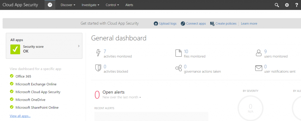 01 Cloud App Security Dashboard